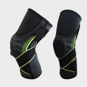 Low cost sourcing China wholesale Supplier manufacturer of Knitted Knee Brace with Side Stabilizer Silicone Donut Ring cross x straps spring stays